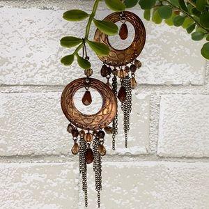 Antique Boho Copper Tone Hoop Chandelier Earrings